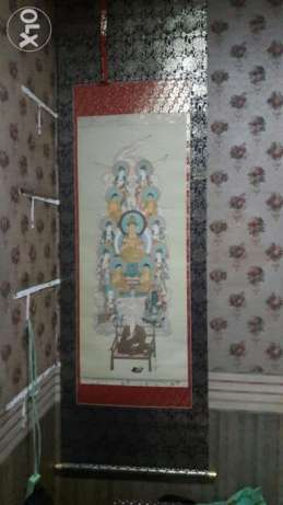 Buddhist scroll wall display