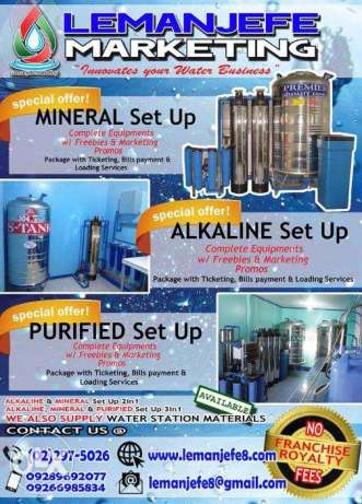 Affordable Alkaline Water Station Business w Ticketing Bills Payment