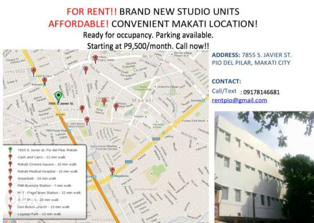 For Rent! Apartments – Convenient Makati Location (Pio del Pilar)