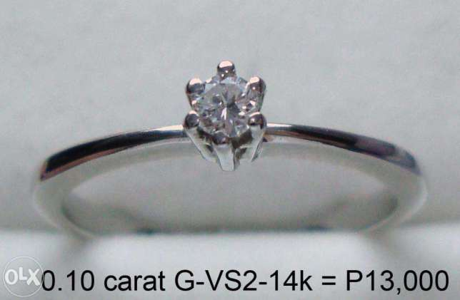 Genuine Diamond Engagement Rings in 14k Gold No Enhancement