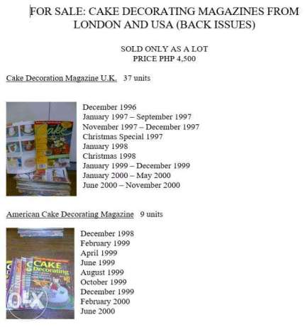 Cake Decorating Magazines from London and USA (Back Issues)