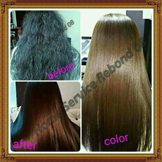 REBOND COLOR BRAZILIAN mura na maganda pa visit our page (HOME SERVICE REBOND 08) for more packages